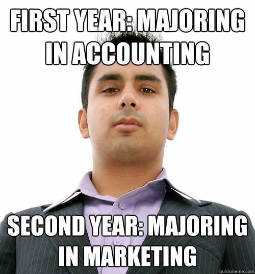 First year: majoring in accounting Second year: majoring in marketing  Business School Student