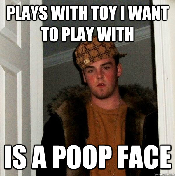 plays with toy i want to play with is a poop face - plays with toy i want to play with is a poop face  Scumbag Steve
