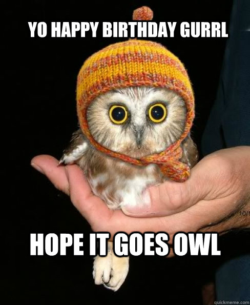 Yo Happy Birthday Gurrl Hope It Goes Owl Misc Quickmeme