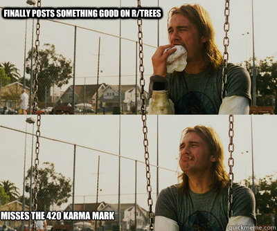 finally posts something good on r/trees misses the 420 karma mark - finally posts something good on r/trees misses the 420 karma mark  First World Stoner Problems