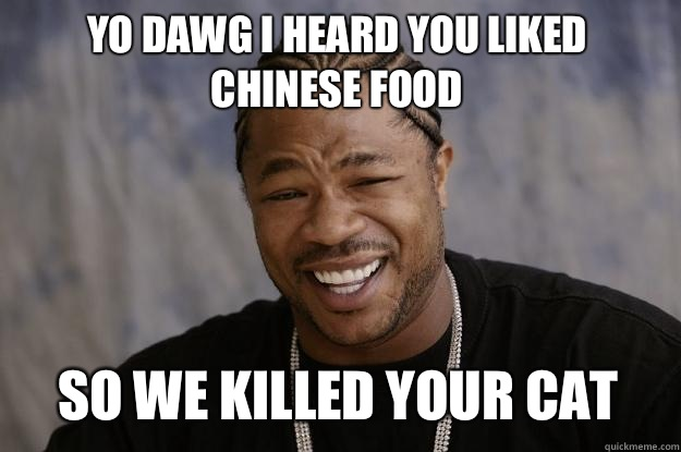 Yo dawg I heard you liked Chinese food So we killed your cat - Yo dawg I heard you liked Chinese food So we killed your cat  Xzibit meme