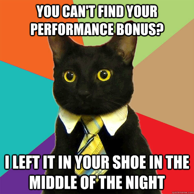 you can't find your performance bonus? I left it in your shoe in the middle of the night  Business Cat