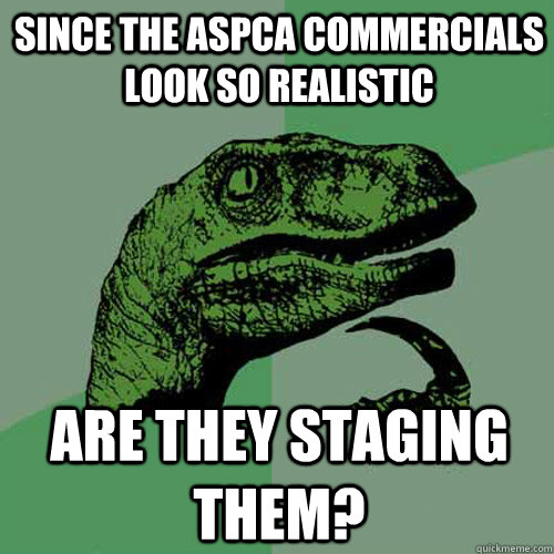 since the aspca commercials look so realistic are they staging them? - since the aspca commercials look so realistic are they staging them?  Philosoraptor