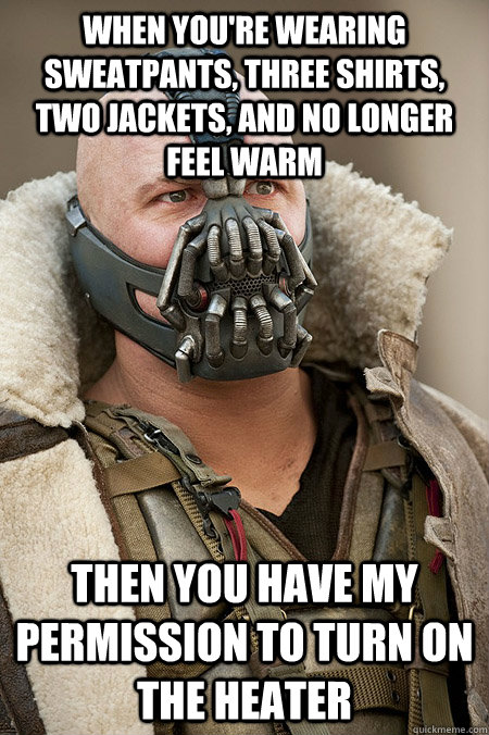 When you're wearing sweatpants, three shirts, two jackets, and no longer feel warm then you have my permission to turn on the heater - When you're wearing sweatpants, three shirts, two jackets, and no longer feel warm then you have my permission to turn on the heater  Bad Jokes Bane