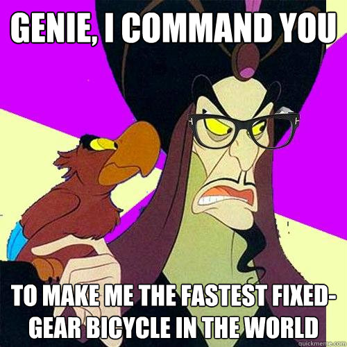 Genie, I command you To make me the fastest fixed-gear bicycle in the world