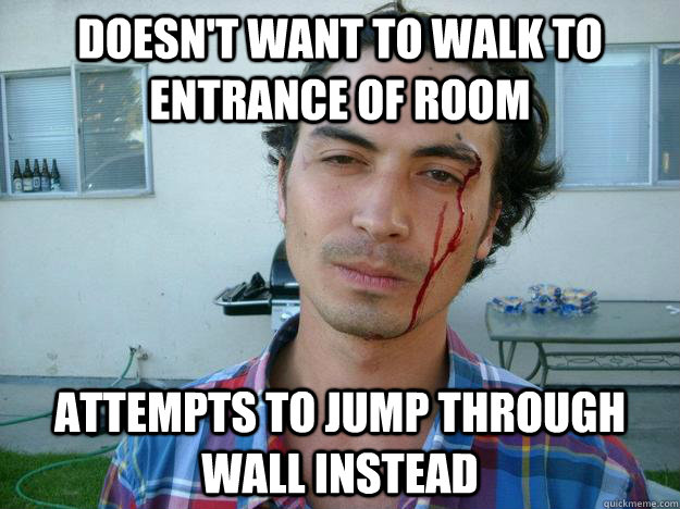 Doesn't want to Walk To Entrance Of Room attempts to Jump through wall instead