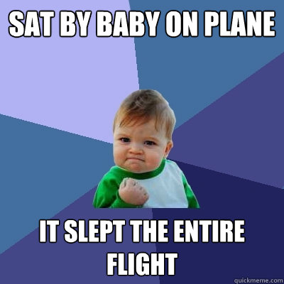 Sat by baby on plane It slept the entire flight - Sat by baby on plane It slept the entire flight  Success Kid
