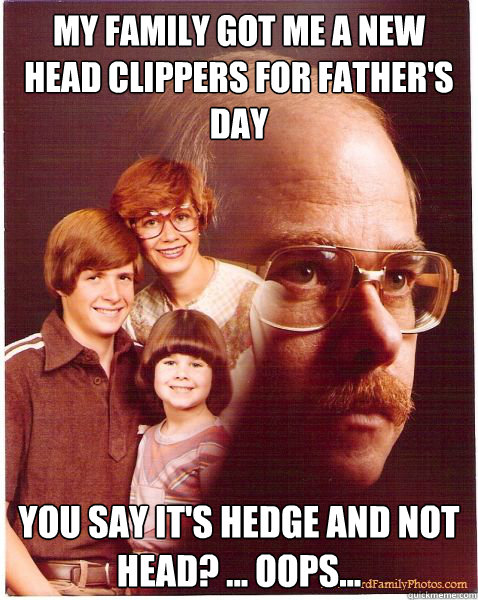My family got me a new head clippers for father's day You say it's hedge and not head? ... oops... - My family got me a new head clippers for father's day You say it's hedge and not head? ... oops...  Vengeance Dad