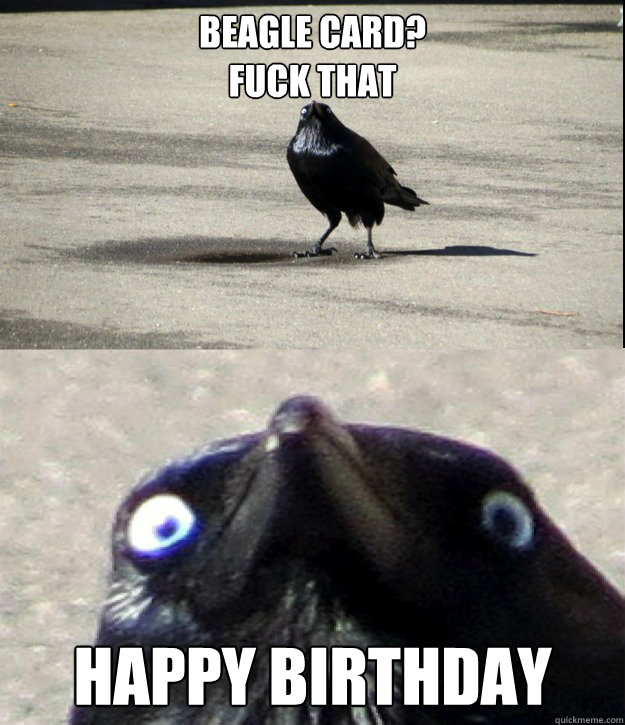 Beagle Card Fuck That Happy Birthday Insanity Crow Quickmeme