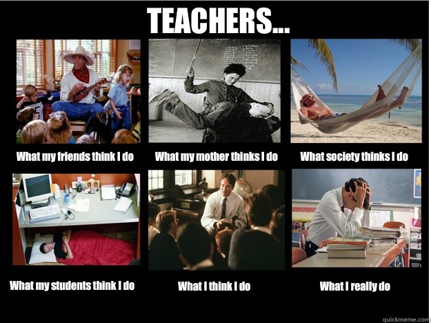 TEACHERS... What my friends think I do What my mother thinks I do What society thinks I do What my students think I do What I think I do What I really do  What People Think I Do