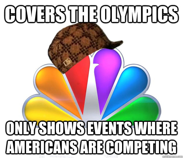 Covers the olympics only shows events where americans are competing