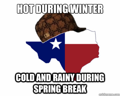 Hot during winter Cold and rainy during Spring Break