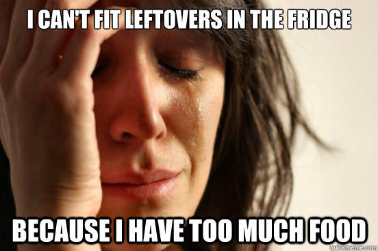 I can't fit leftovers in the fridge  because I have too much food - I can't fit leftovers in the fridge  because I have too much food  First World Problems