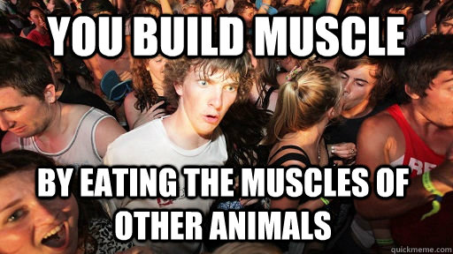 You build muscle  by eating the muscles of other animals - You build muscle  by eating the muscles of other animals  Sudden Clarity Clarence