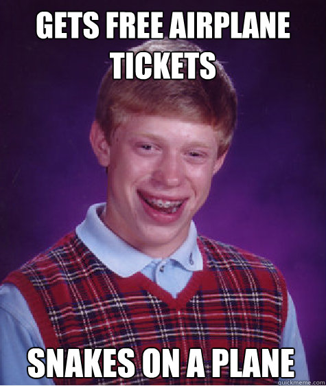 Gets free airplane tickets Snakes on a plane - Gets free airplane tickets Snakes on a plane  Bad Luck Brian