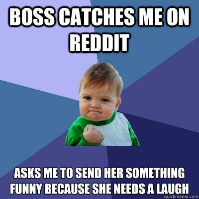 Boss catches me on Reddit Asks me to send her something funny because she needs a laugh  Success Kid