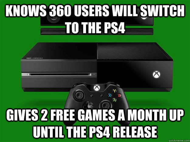 Knows 360 users will switch to the PS4 Gives 2 free games a month up until the ps4 release  Good Guy Microsoft
