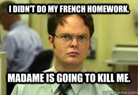 I do my homework in french
