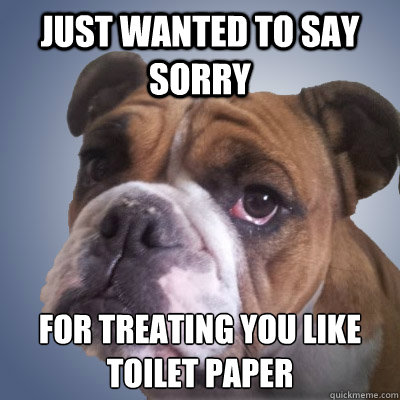 Just wanted to say sorry for treating you like toilet paper