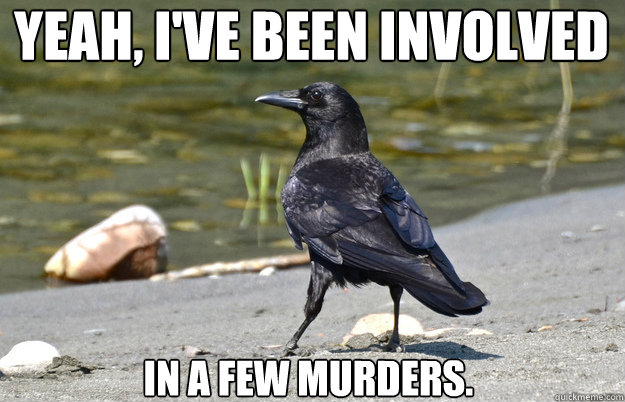 Yeah, I've been involved   in a few murders.