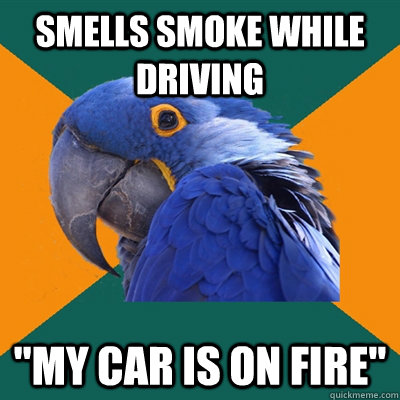 Smells smoke while driving