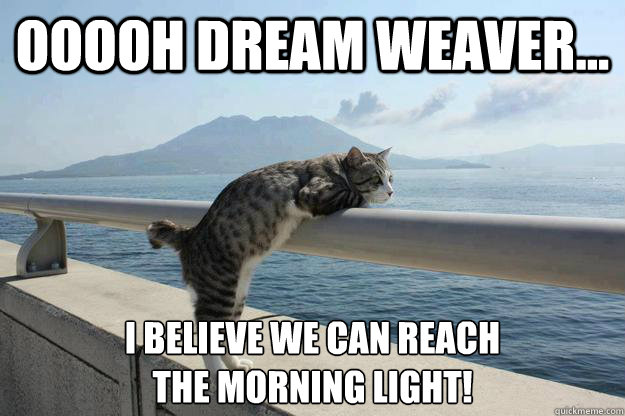 Ooooh dream weaver... I believe we can reach the morning light!