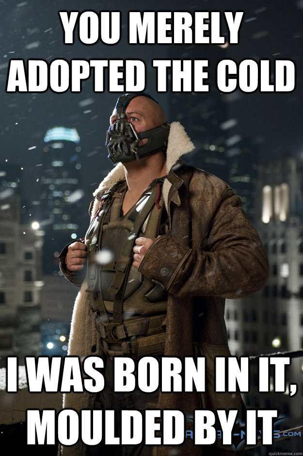 You merely adopted the cold I was born in it, moulded by it - You merely adopted the cold I was born in it, moulded by it  Bane