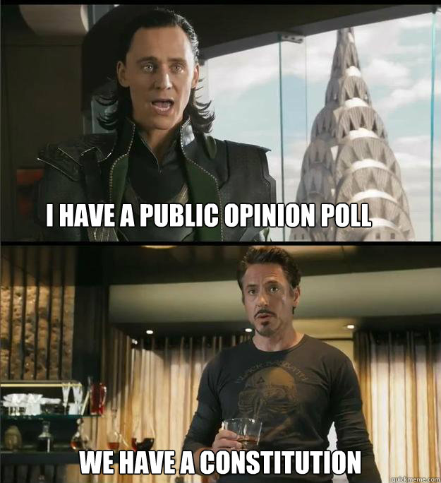 I have a public opinion poll We have a Constitution  The Avengers