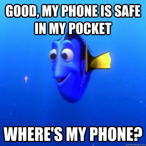 Good, my phone is safe in my pocket Where's my phone? - Good, my phone is safe in my pocket Where's my phone?  dory