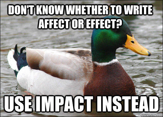 Don't know whether to write affect or effect? Use impact instead - Don't know whether to write affect or effect? Use impact instead  Actual Advice Mallard