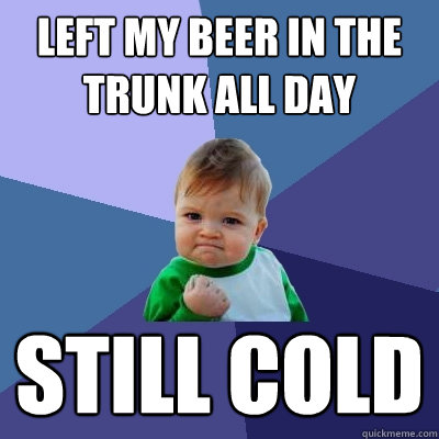 left my beer in the trunk all day still cold - left my beer in the trunk all day still cold  Success Kid