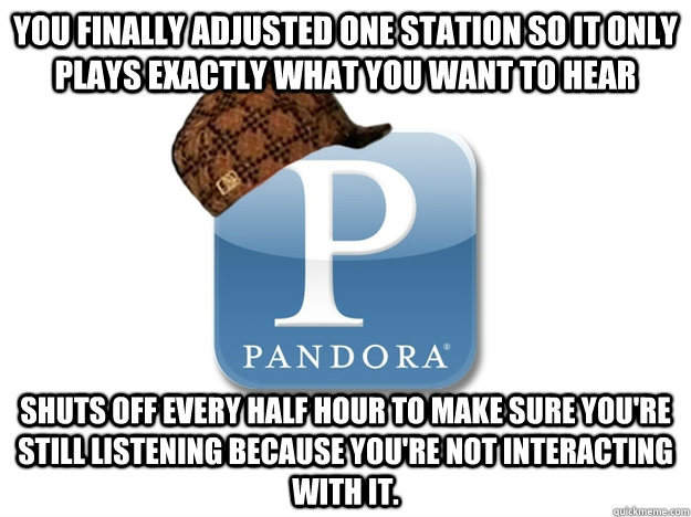 you finally adjusted one station so it only plays exactly what you want to hear Shuts off every half hour to make sure you're still listening because you're not interacting with it.