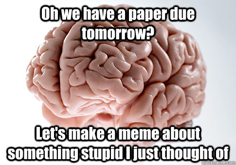 Oh we have a paper due tomorrow? Let's make a meme about something stupid I just thought of  - Oh we have a paper due tomorrow? Let's make a meme about something stupid I just thought of   Scumbag Brain