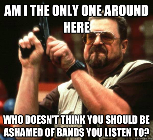 Am i the only one around here who doesn't think you should be ashamed of bands you listen to?  Am I the only one backing France