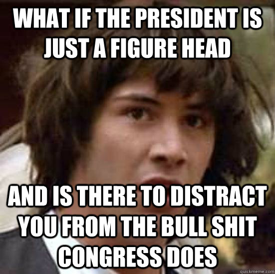 What if the president is just a figure head and is there to distract you from the bull shit congress does - What if the president is just a figure head and is there to distract you from the bull shit congress does  conspiracy keanu