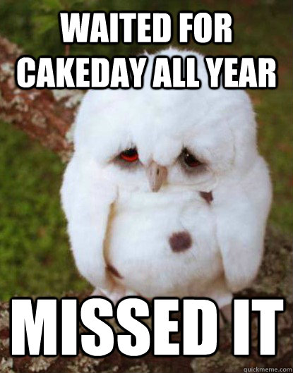 WAITED FOR CAKEDAY ALL YEAR                                                                                       MISSED IT - WAITED FOR CAKEDAY ALL YEAR                                                                                       MISSED IT  Depressed Baby Owl