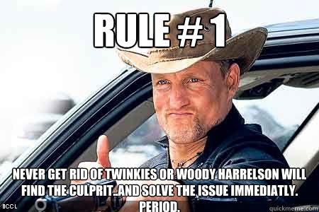 Rule # 1 Never get rid of twinkies or Woody Harrelson will find the culprit..and solve the issue immediatly. PERIOD.   Twinkies