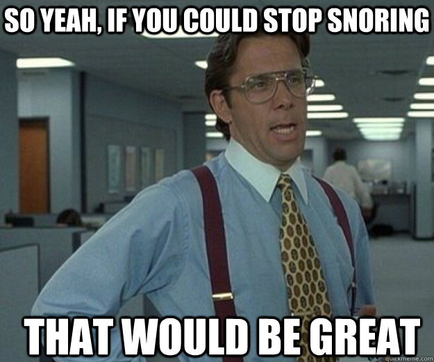 7c5a52ae687b3d01dc5a275793acd7dd14405bb7bab17b0b4e959f0b37aed6ae so yeah, if you could stop snoring that would be great that