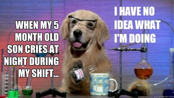 When my 5 month old son cries at night during my shift...  - When my 5 month old son cries at night during my shift...   science dog