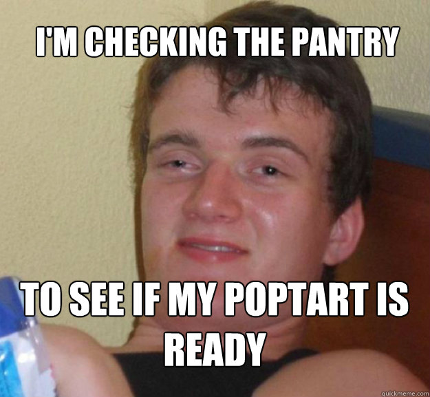 I'm checking the pantry to see if my poptart is ready - I'm checking the pantry to see if my poptart is ready  ten guy