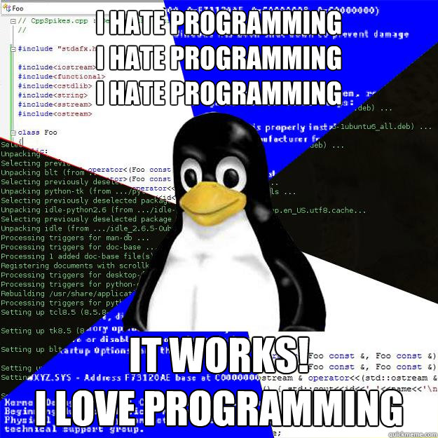 I hate programming i hate programming  i hate programming it works! i love programming