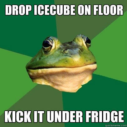 Drop icecube on floor Kick it under fridge - Drop icecube on floor Kick it under fridge  Foul Bachelor Frog