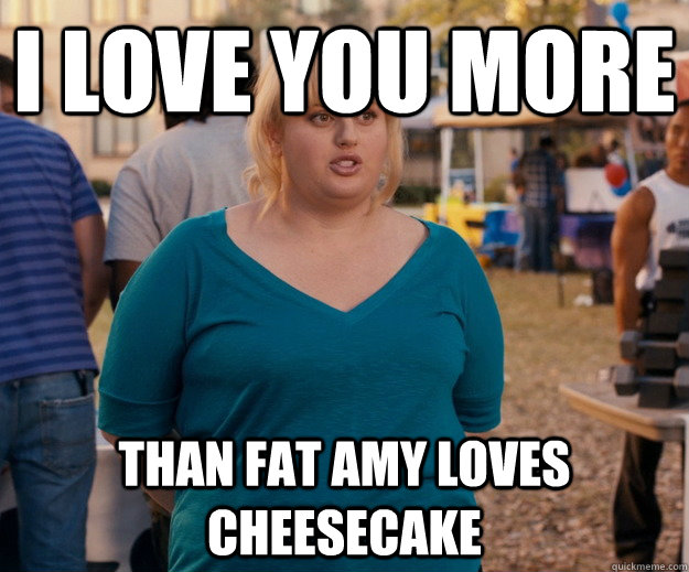 7cbb4cb5c61043f9cce5fb5b8b97bf3ff39cbbd0ad8c18c54c87f8b0a165daf1 i love you more than fat amy loves cheesecake fat amy quickmeme,More Than That Meme