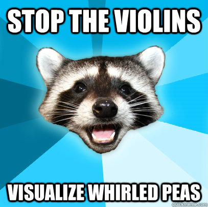 STOP THE VIOLINS VISUALIZE WHIRLED PEAS - STOP THE VIOLINS VISUALIZE WHIRLED PEAS  Lame Pun Coon