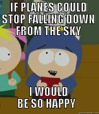 IF PLANES COULD STOP FALLING DOWN FROM THE SKY I WOULD BE SO HAPPY   Craig - I would be so happy