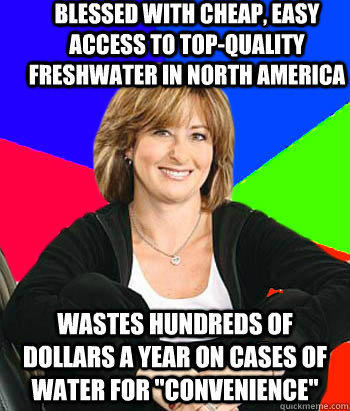 Blessed with cheap, easy access to top-quality freshwater in north america wastes hundreds of dollars a year on cases of water for