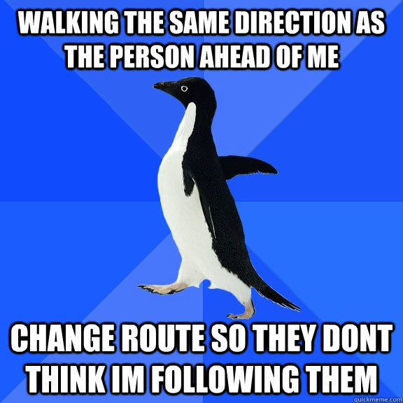 walking the same direction as the person ahead of me change route so they dont think im following them - walking the same direction as the person ahead of me change route so they dont think im following them  Socially Awkward Penguin