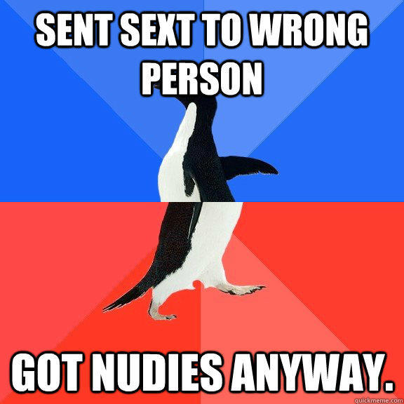 Sent sext to wrong person Got nudies anyway. - Sent sext to wrong person Got nudies anyway.  Socially Awkward Awesome Penguin