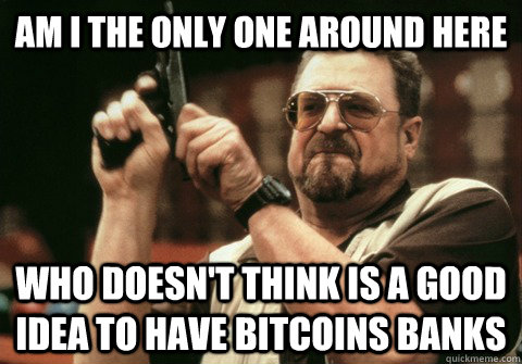 Am I the only one around here Who doesn't think is a good idea to have bitcoins banks - Am I the only one around here Who doesn't think is a good idea to have bitcoins banks  Am I the only one