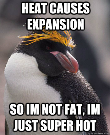 heat causes expansion so im not fat, im just super hot